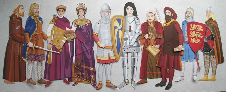 Articulated paper dolls of famous people from the Middle Ages