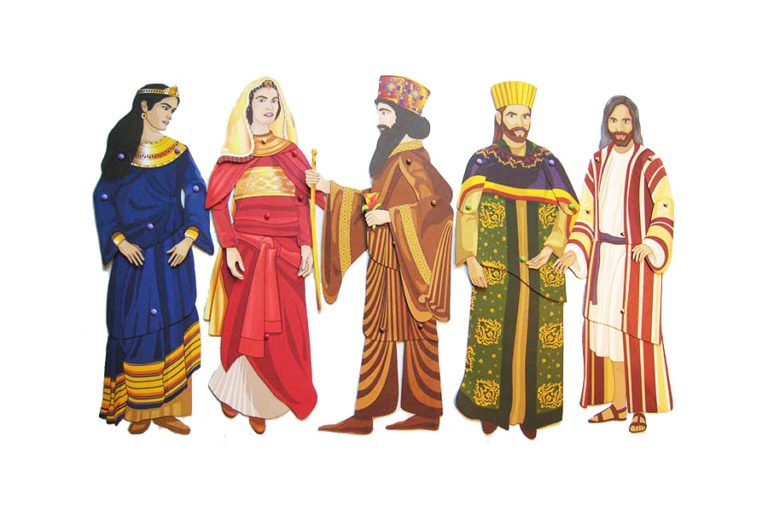 Articulated paper dolls of the people from the story of Queen Esther