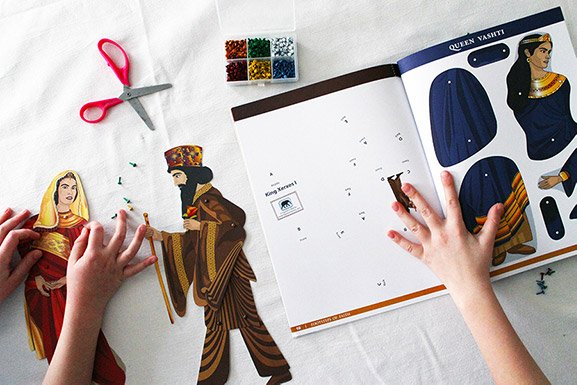Queen Esther crafts for kinesthetic learners articulated paper dolls