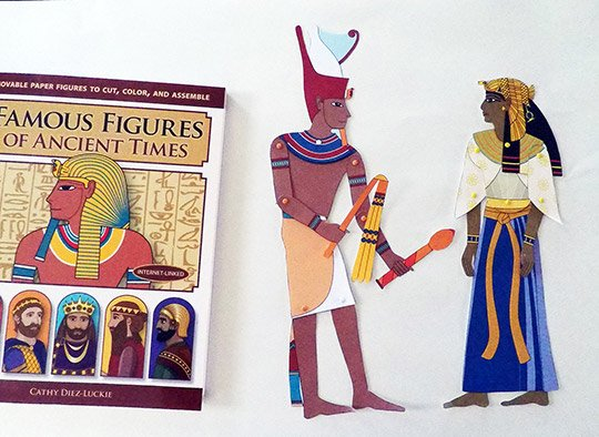 Narmer and Hatshepsut articulated paper dolls from Famous Figures of Ancient Times