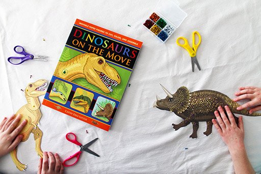 Dinosaurs for kids with articulated paper dinosaurs.