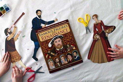 Articulated Paper Dolls of Elizabeth I, Galileo, and Michelangelo