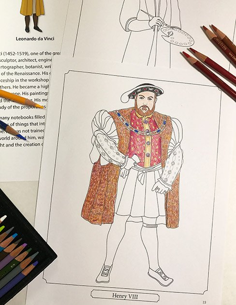 Renaissance coloring pages from Famous Figures of the Renaissance Coloring eBook
