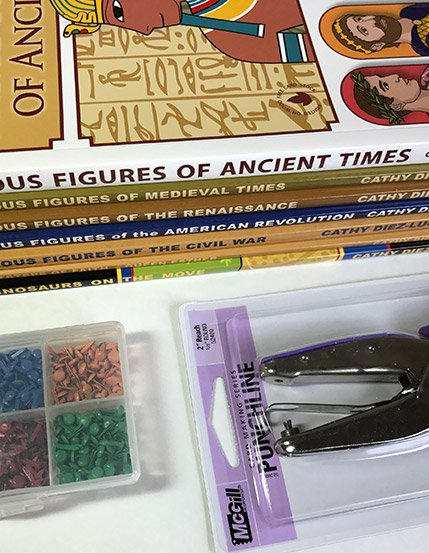 Entire collection of articulated paper dolls bundle hole punch and mini brads